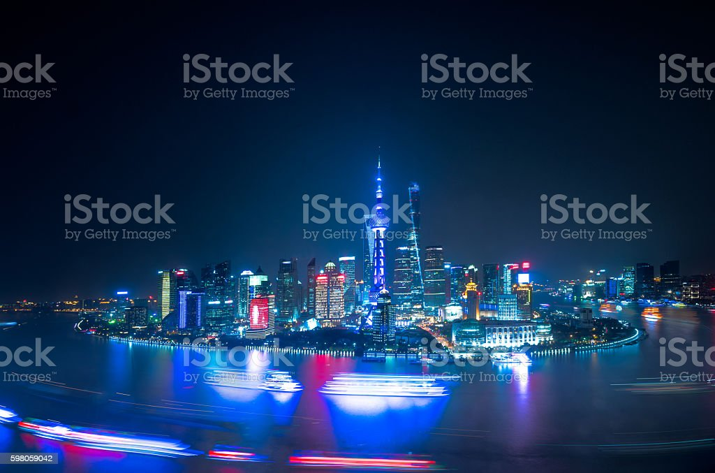 The Bund of Shanghai Panorama at night stock photo