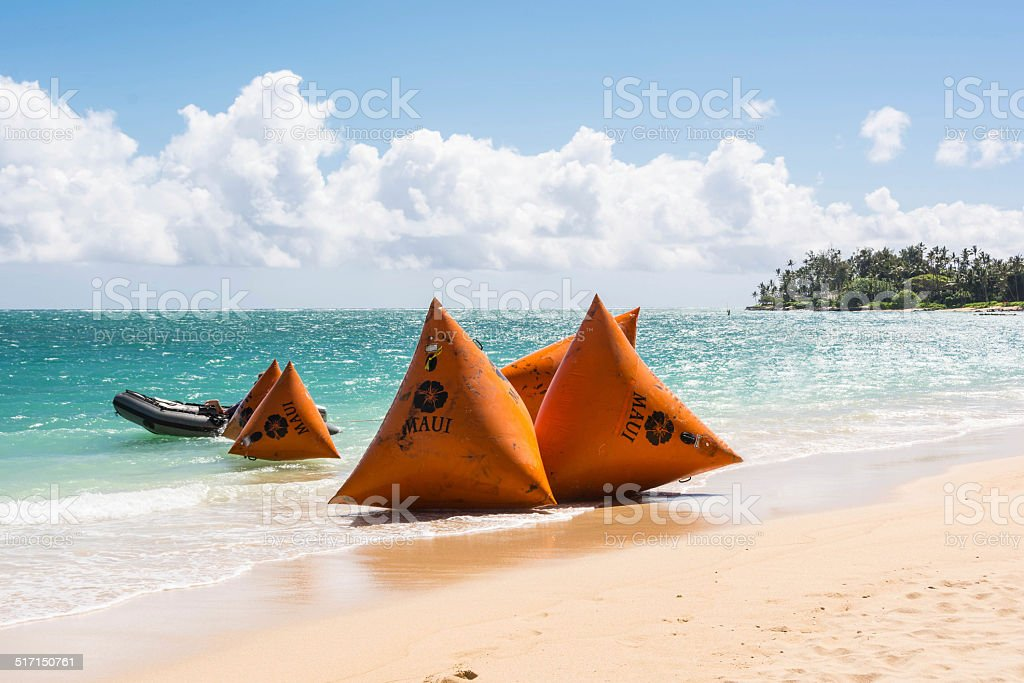 The buoys on the beach, Maui stock photo