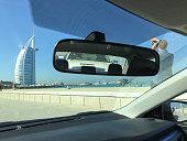 The Burj al-Arab building in Dubai from Jumeirah beach