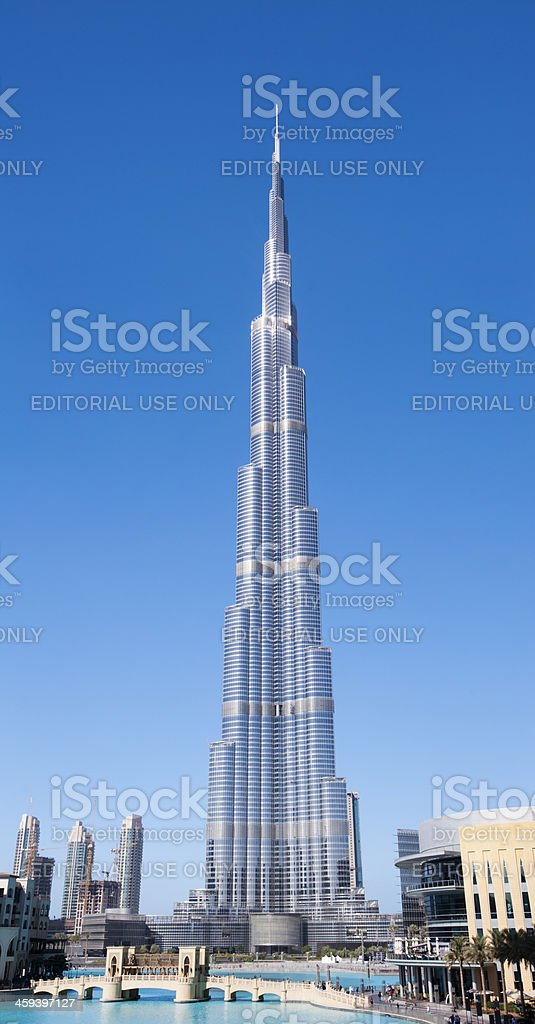 The Burj Khalifa Tower in Dubai United Arab Emirates stock photo