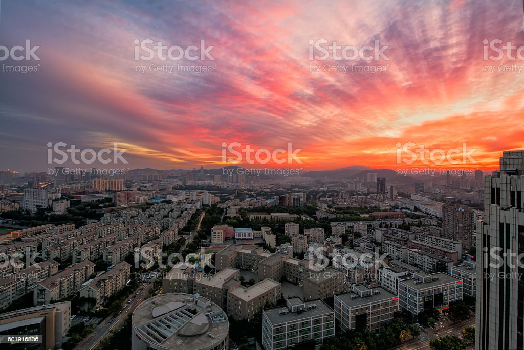 The burning clouds like the flare radiance stock photo