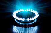 The burning torch on  gas stove