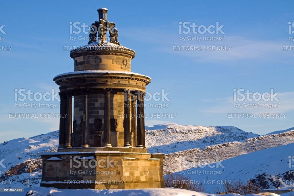 Calton Hill, Edinburgh, Scotland - December 7, 2010: The Burns Monument stock photo