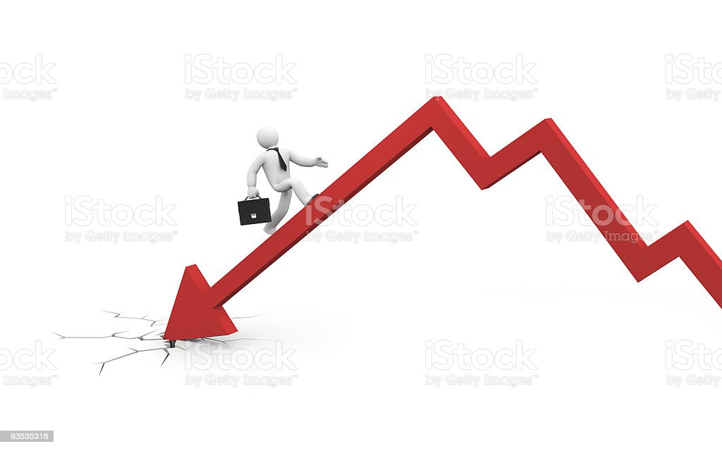The businessman overcome financial crisis. Business in action, concept. stock photo