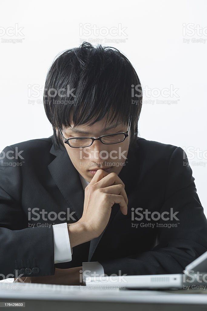 The businessman who is agonized royalty-free stock photo