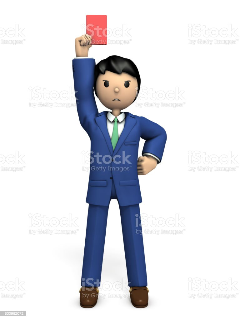 The businessman will show the red card and tell him to leave. stock photo