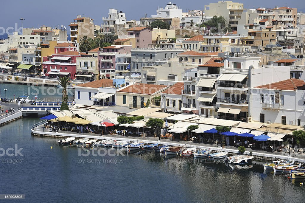 The busy inner harbour at Aghios Nikolaos, Crete, Greece stock photo