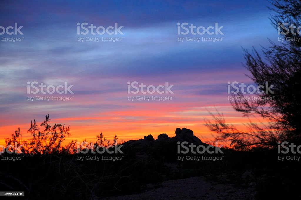 The butte at Papago Park in Phoenix, Arizona stock photo