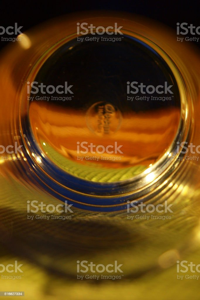 The buttom of water glass stock photo
