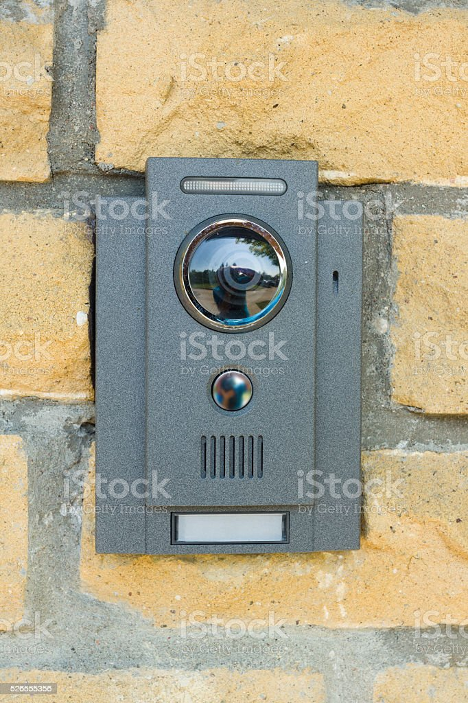 the button is ringing stock photo
