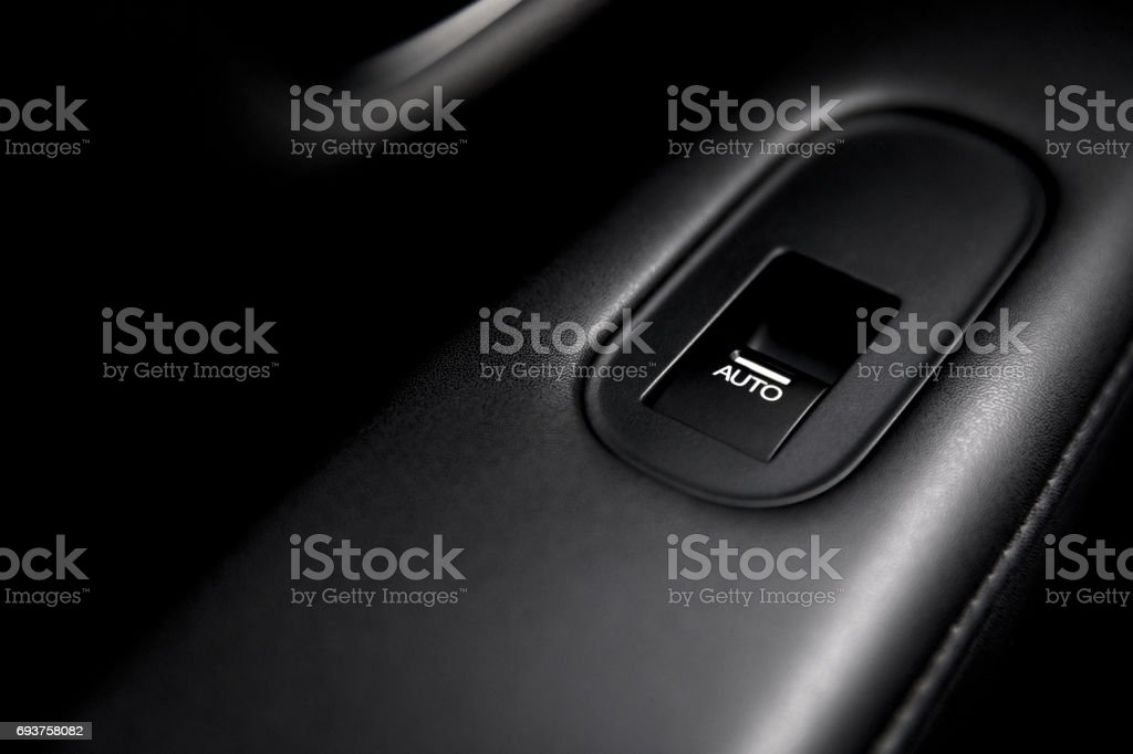 The button to open electronic window car stock photo