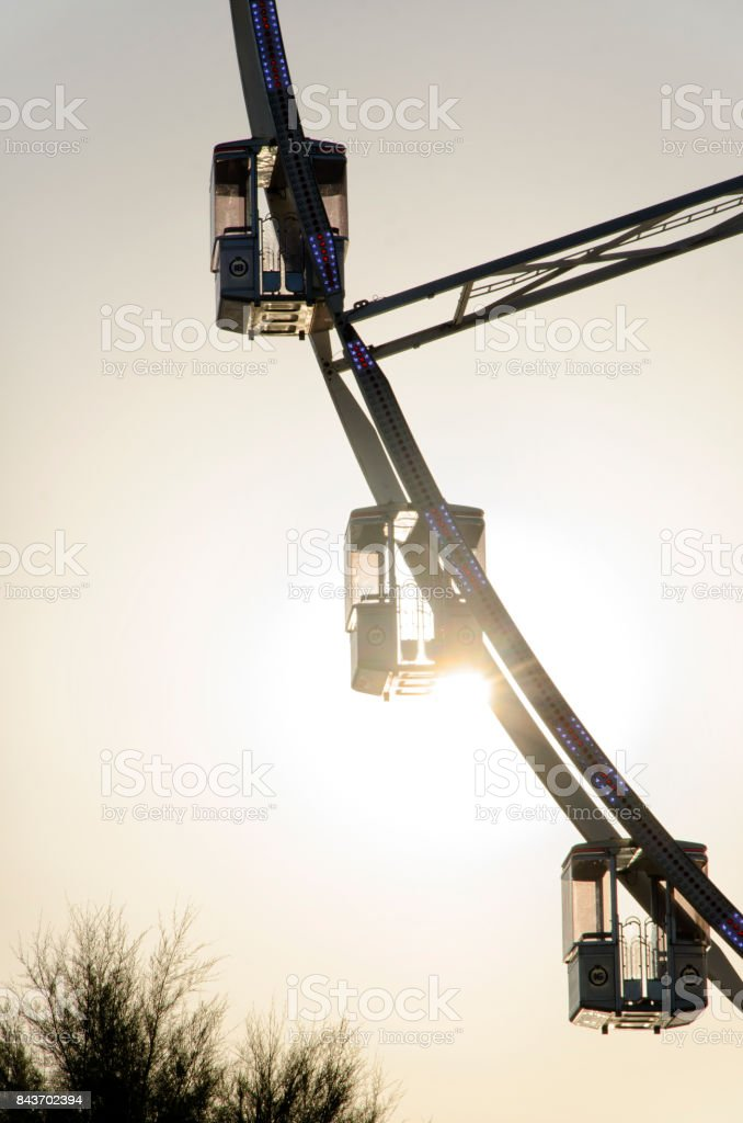 The cabins of a ferris wheel stock photo