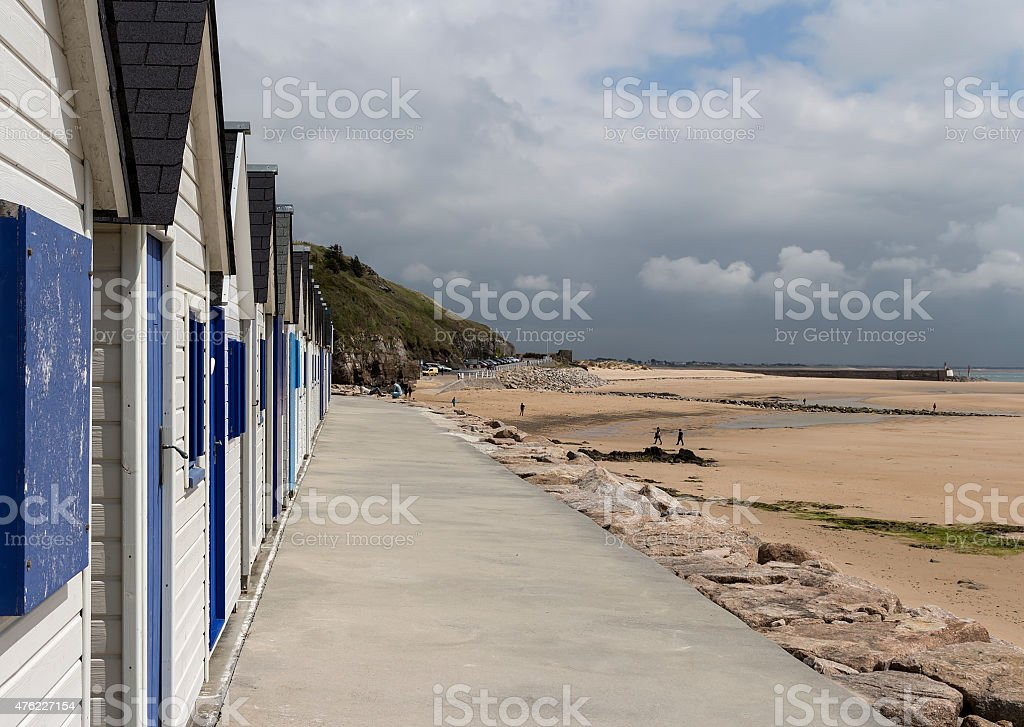 The cabins on the beach royalty-free stock photo