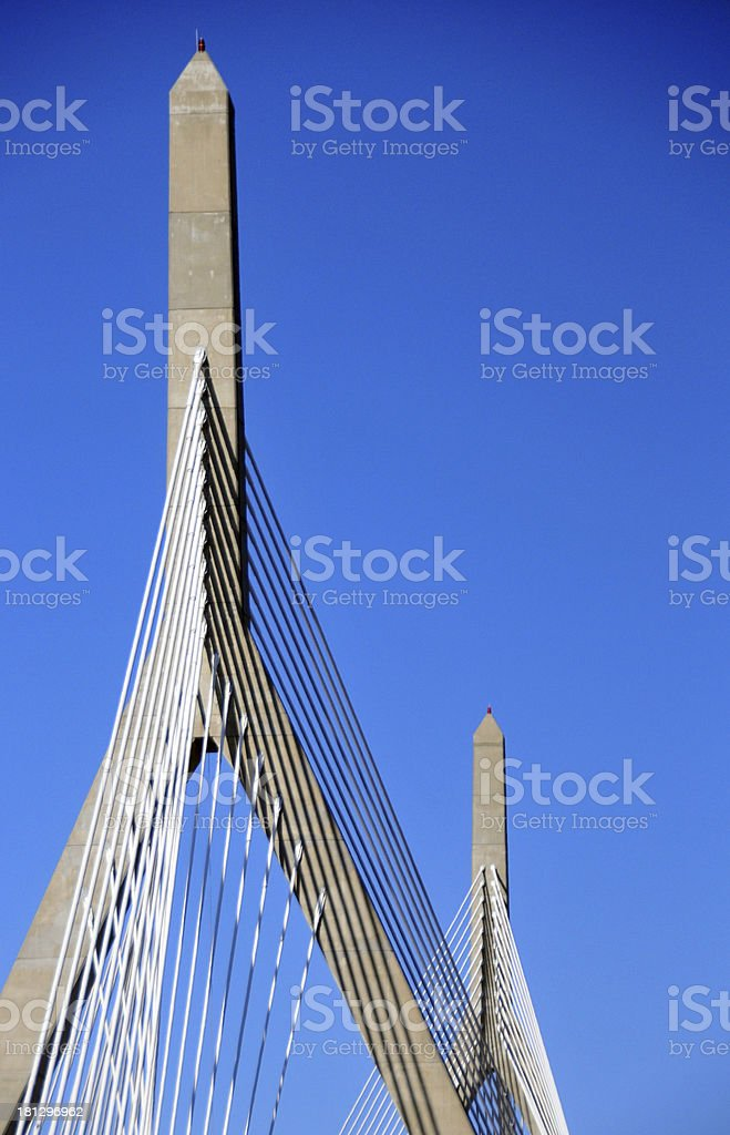 the cable-stayed Zakim Bunker Hill Memorial bridge stock photo