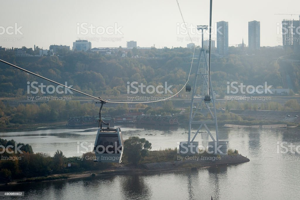 The cableway across river stock photo