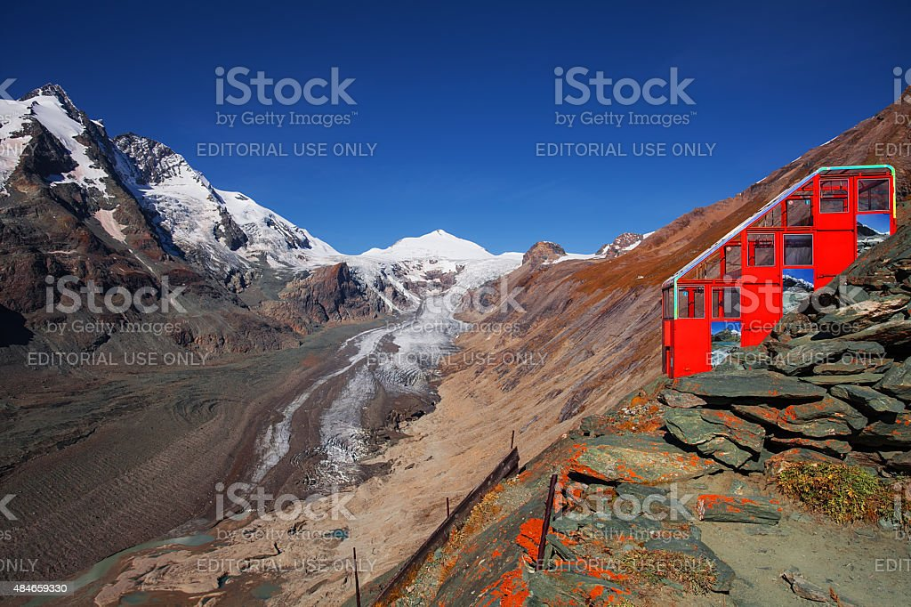 The cableway to Pasterze glacier stock photo