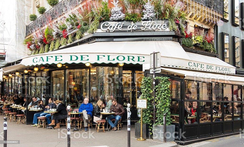 The cafe de Flore, Paris, France. stock photo