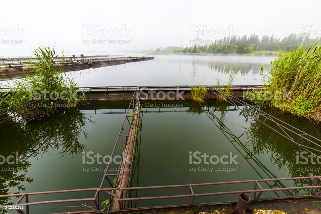 The cages for breeding fish. stock photo