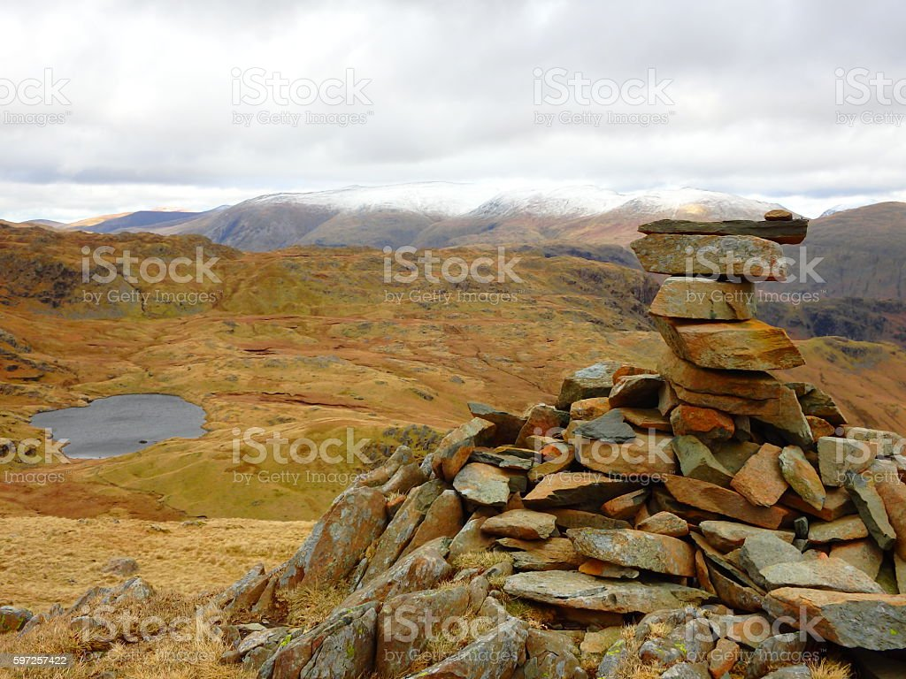 The Cairn above Easedale Tarn stock photo