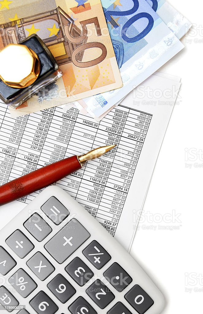 The calculator, pen, ink and money on documents. royalty-free stock photo