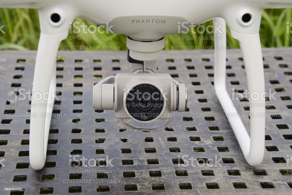 The camera on the suspension quadrocopters. stock photo