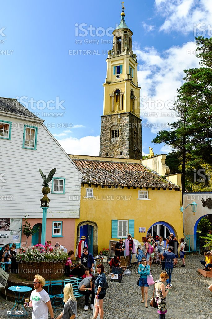 'The Campanile' bell tower rises above Portmeirion town square stock photo