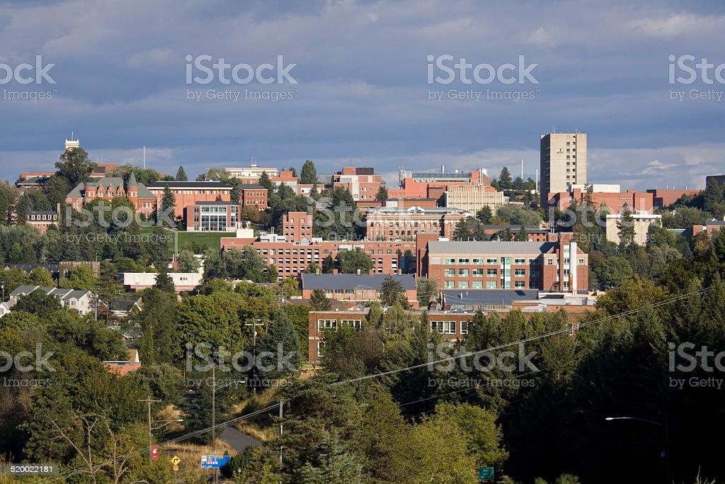 The campus of Washington State University in Pullman, Washington stock photo