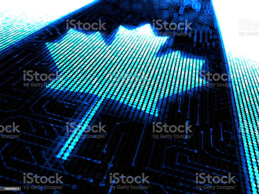 The Canadian flag lit up on an electronic grid stock photo