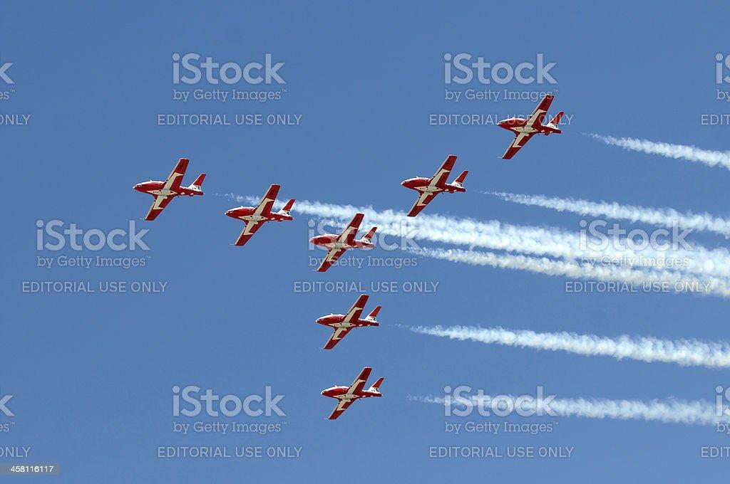 The Canadian Snowbirds demo team in flight royalty-free stock photo