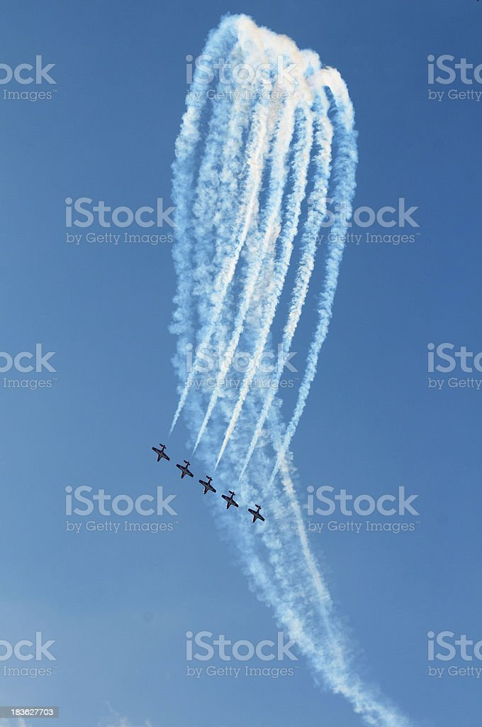 The Canadian Snowbirds demo team in flight - Stock Image stock photo