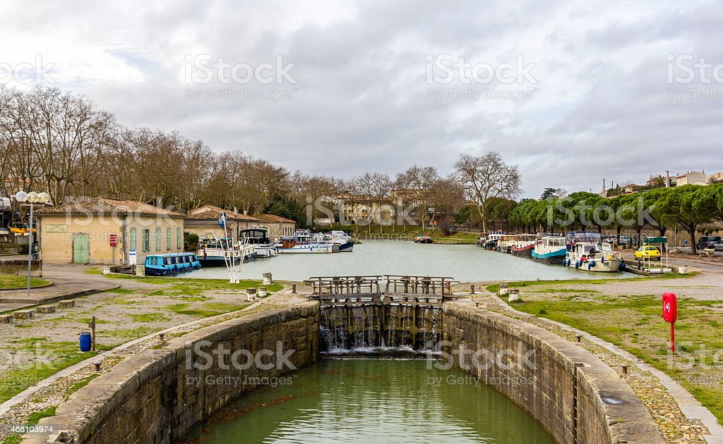 The Canal du Midi in Carcassonne - France stock photo