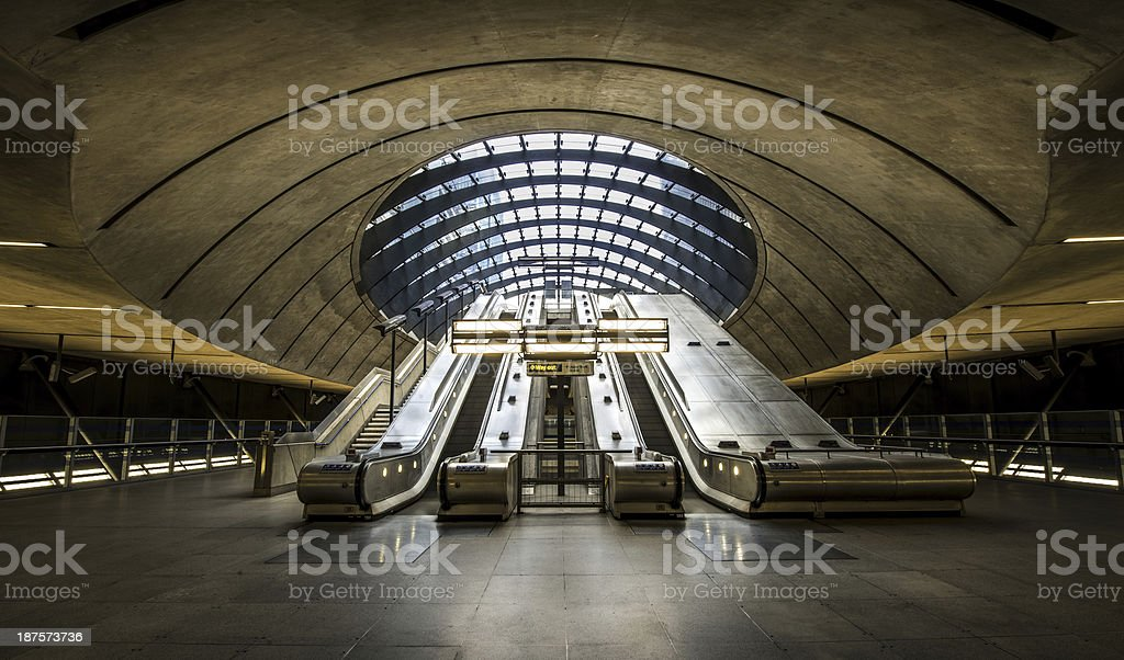 The Canary Wharf tube station , London stock photo