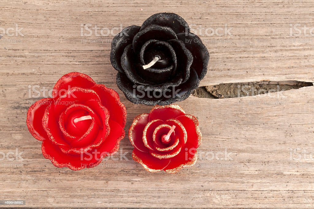 The candle rose set on wooden floor royalty-free stock photo