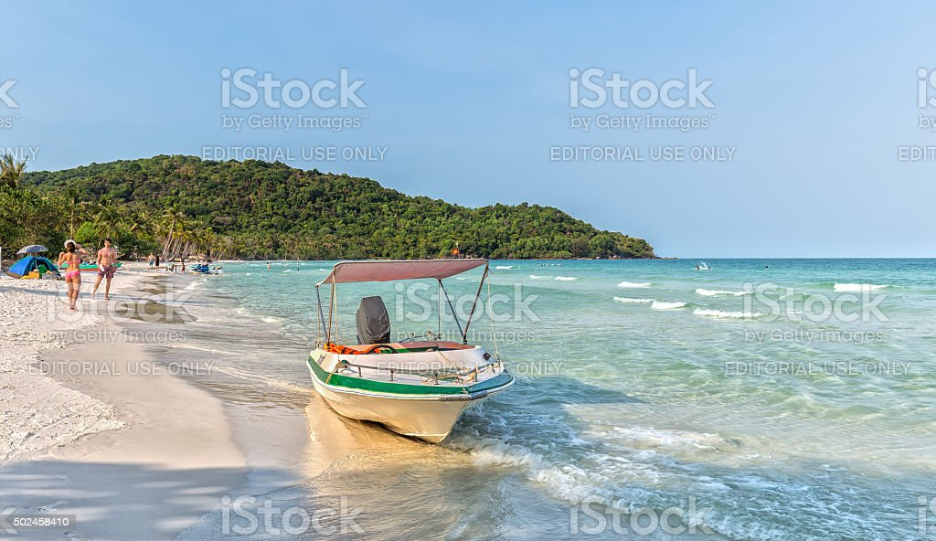 The canoes on beautiful beach stock photo