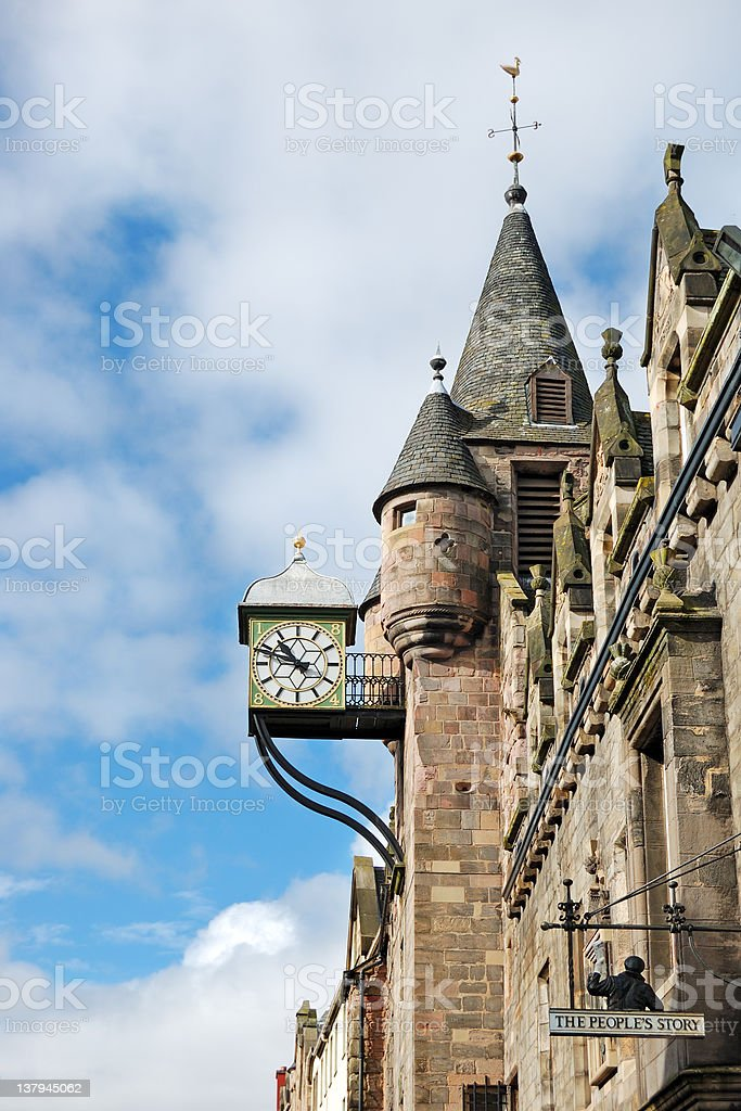 The Canongate Tolbooth's Clock, Royal Mile, Edinburgh stock photo