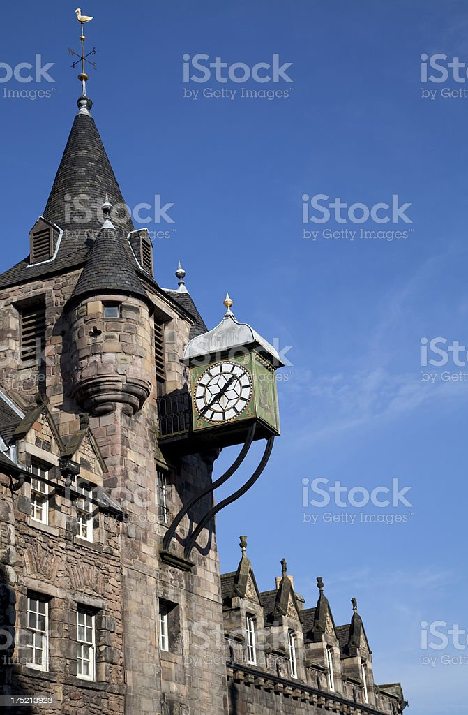 The Canongate tollbooth in Edinburgh, an architectural clock tower in a clear sky stock photo