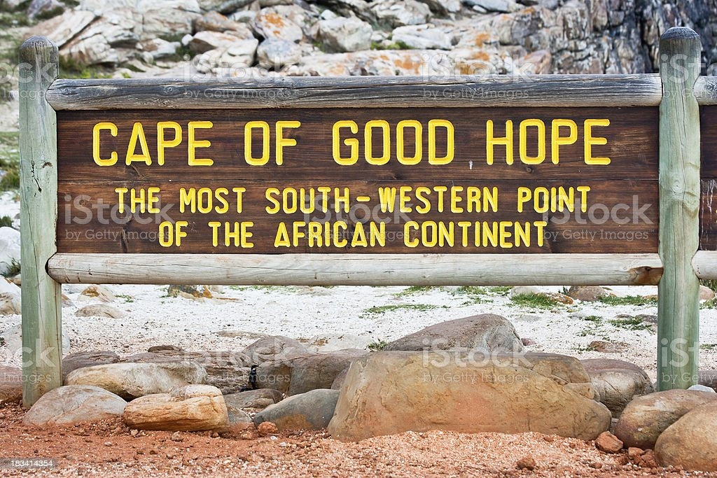 The Cape of Good Hope Signpost stock photo