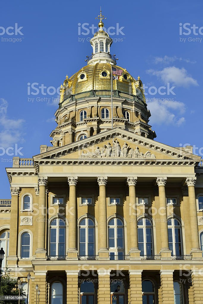 The capital building in Iowa from a low perspective. royalty-free stock photo