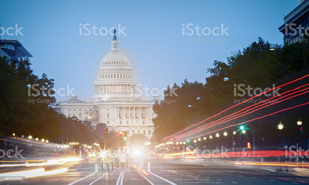 the Capitol at night stock photo
