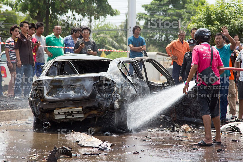 The car fire due to gas explosion. stock photo