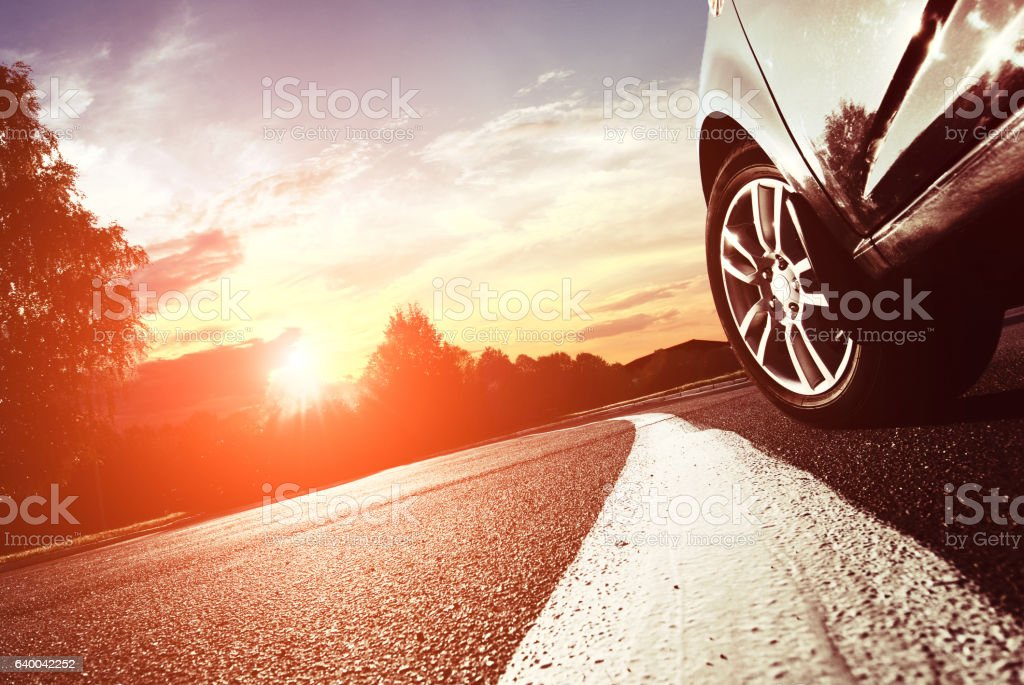 The car moves on fast speed at night. stock photo
