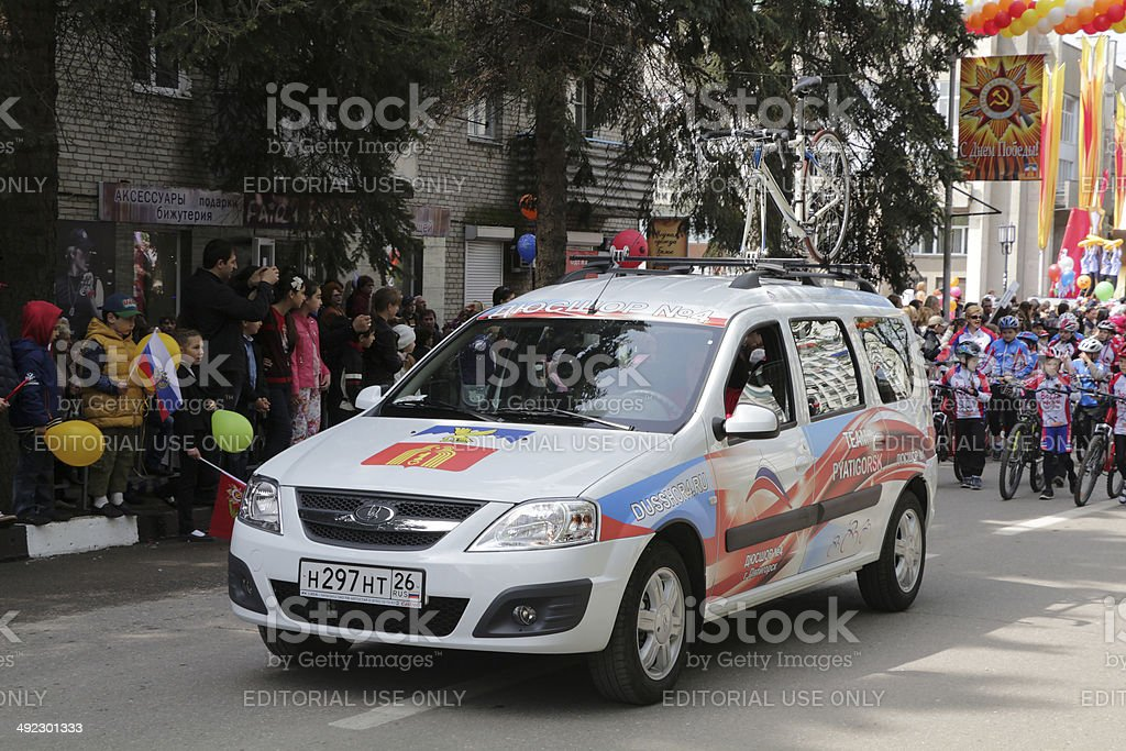 The car of junior sports school on parade royalty-free stock photo