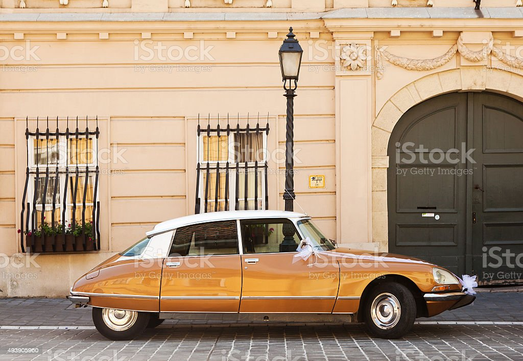 The car on the street of Budapest, Hungary. stock photo