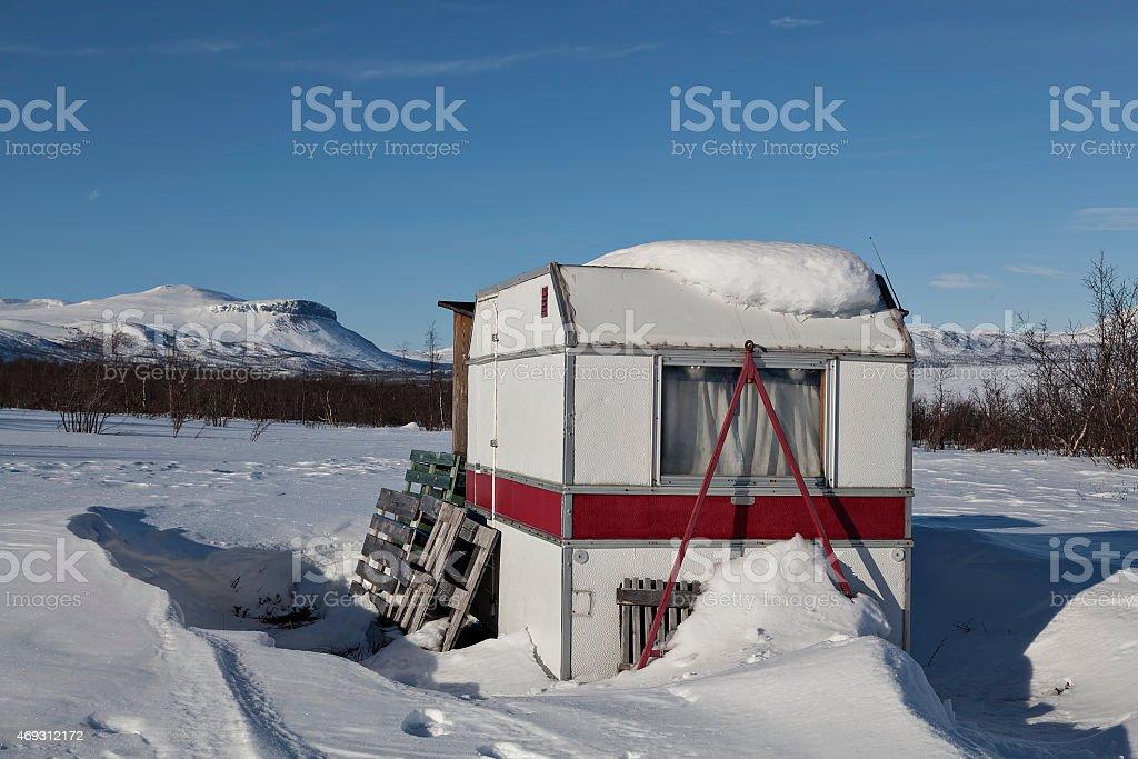 The caravan on Tornetr?sk royalty-free stock photo
