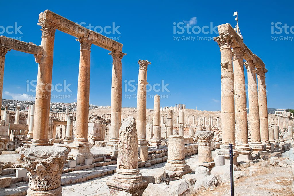 The Cardo Maximus ( Colonnaded Street). Jerash Jordan. stock photo