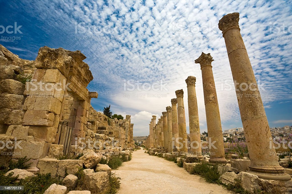The Cardo temple in Jerash with old columns royalty-free stock photo