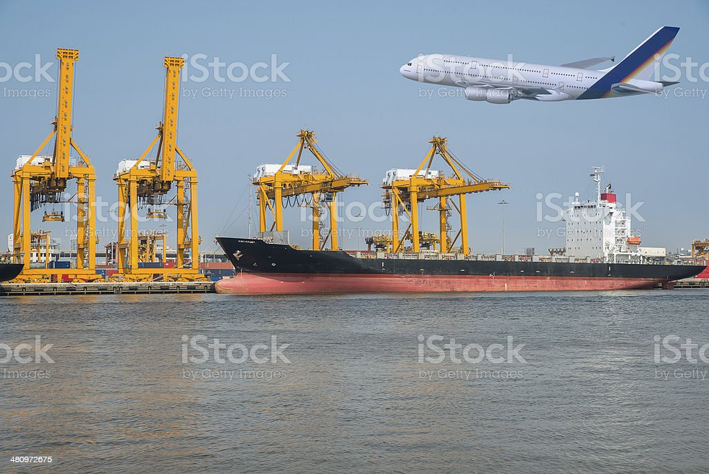 The cargo ship and plane on transport background stock photo