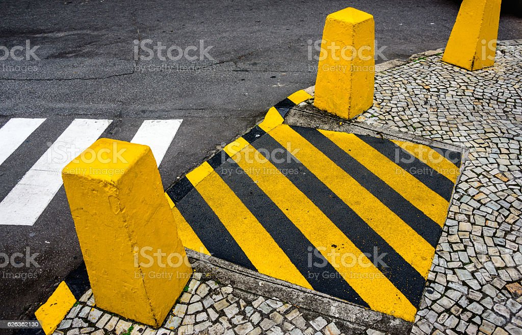 The cargo terminal and yellow columns. Rio de Janeiro, Brazil stock photo