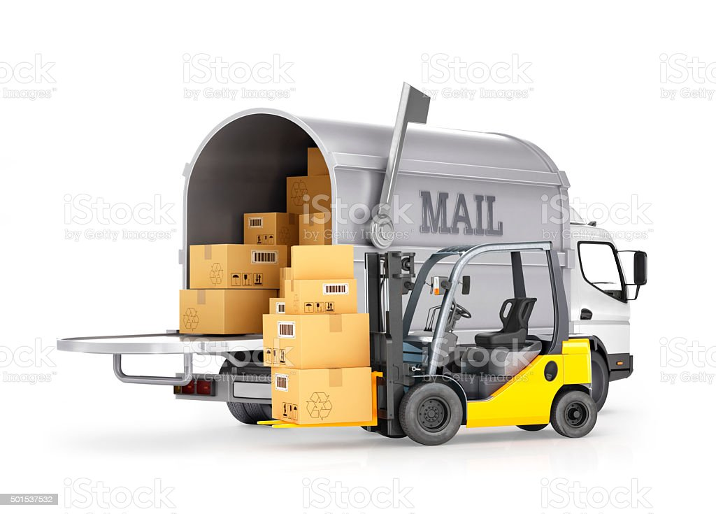 The carrier of cargo (mail) and forklift with boxes stock photo