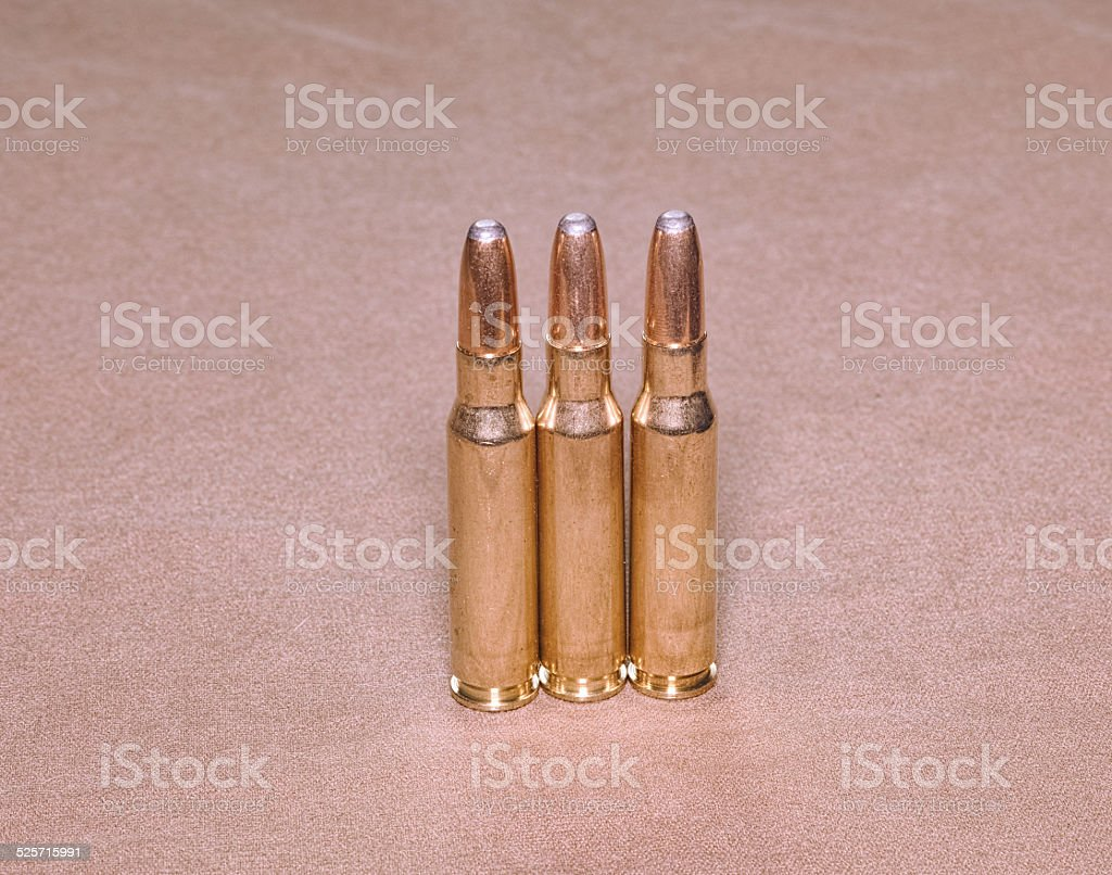 The cartriges 308 Winchester caliber with soft point bullets stock photo